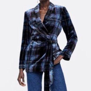 Zara Plaid Checkered Velvet Blazer Small Blogger